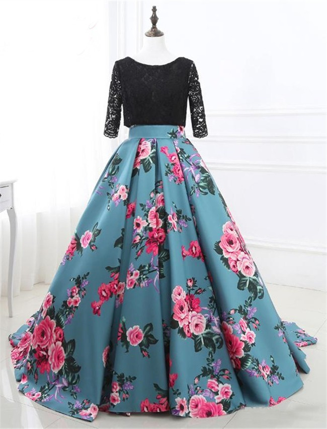 Ball Gown Three Quater Lace Sleeve Corset Back Satin Floral Prom Dress