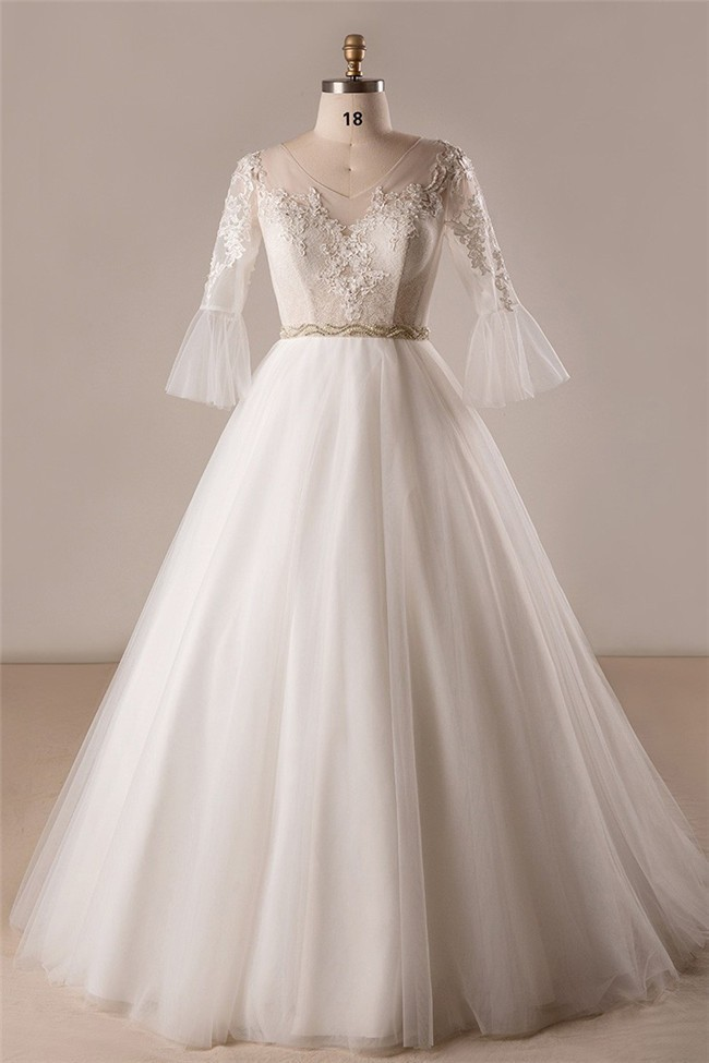 Ball Gown V Neck Frill Sleeve Tulle Lace Plus Size Wedding Dress No