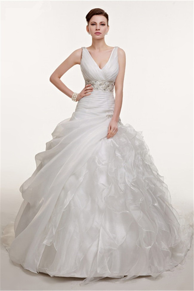 Ball Gown V Neck Organza Ruffle Corset Wedding Dress With Draping