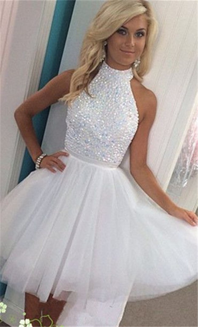 Ball Halter Keyhole Back Short White Tulle Beaded Tutu Prom Dress