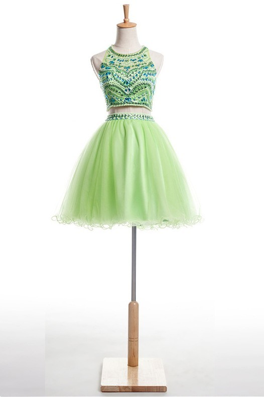 Ball Halter Short Light Green Tulle Beaded Two Piece Prom Dress