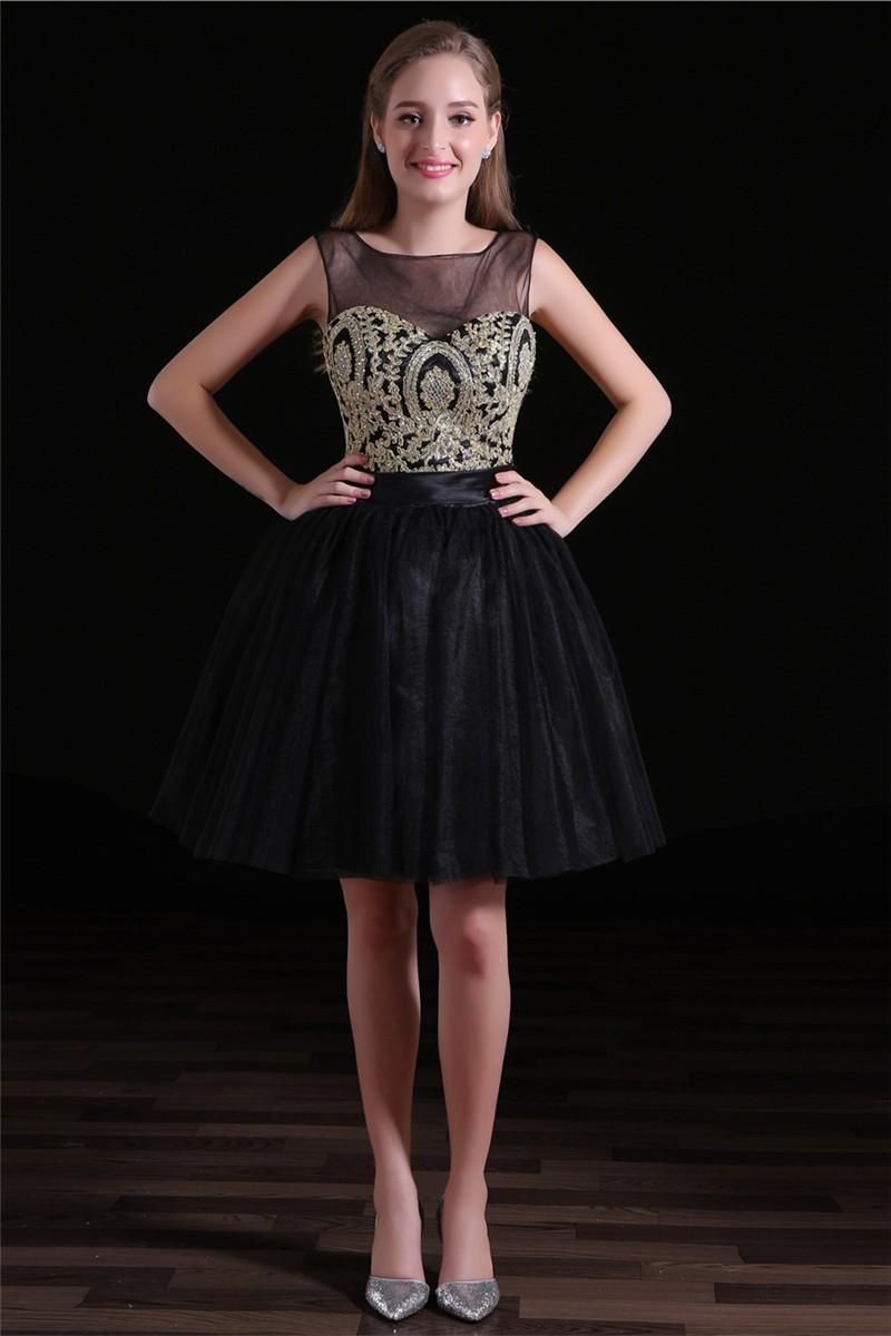 Black Tulle Prom Dress Short