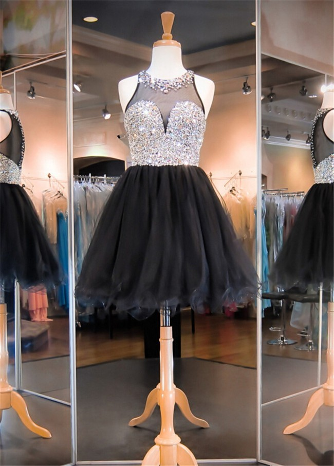 c32a78bd2a7 Ball Round Neck Short Black Tulle Beaded Cocktail Prom Dress