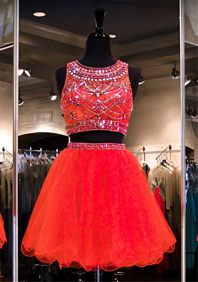 Ball Round Neck Two Piece Short Red Tulle Beaded Prom Dress 5d057b357