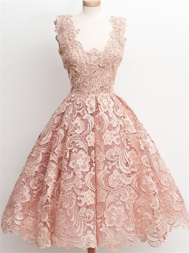 Ball Scalloped Neck Short Nude Lace Party Prom Dress