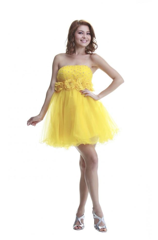 Ball Strapless Empire Waist Short Yellow Tulle Beaded Prom Dress ...