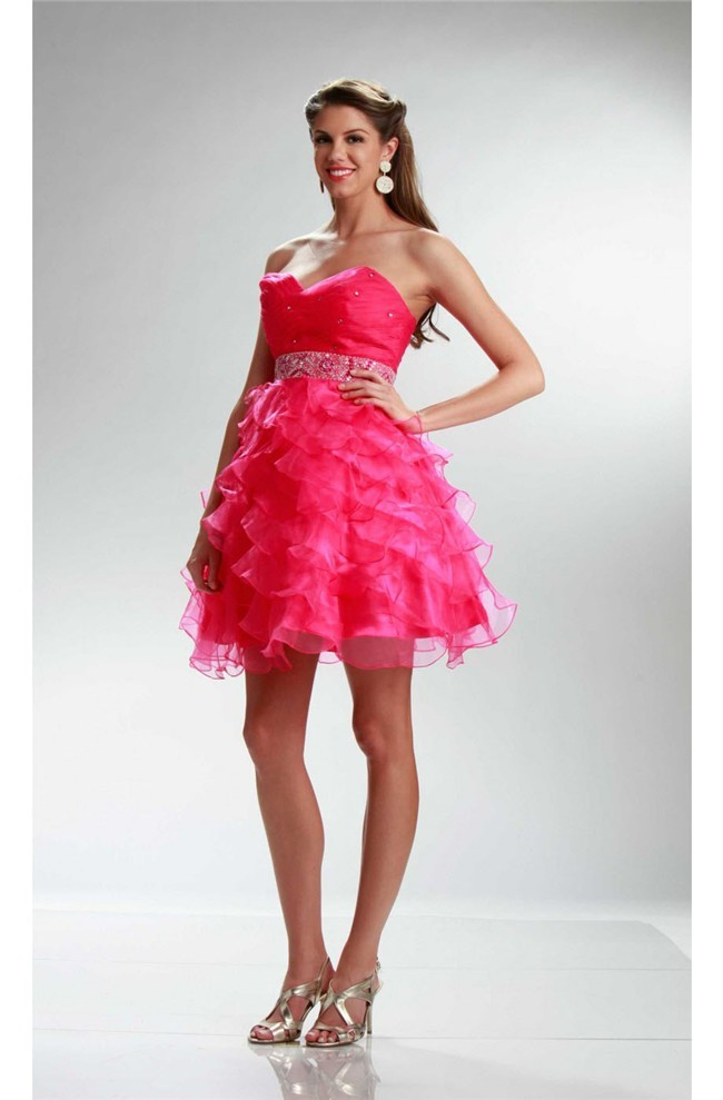 Ball Strapless Short Hot Pink Organza Ruffle Layered Prom Dress