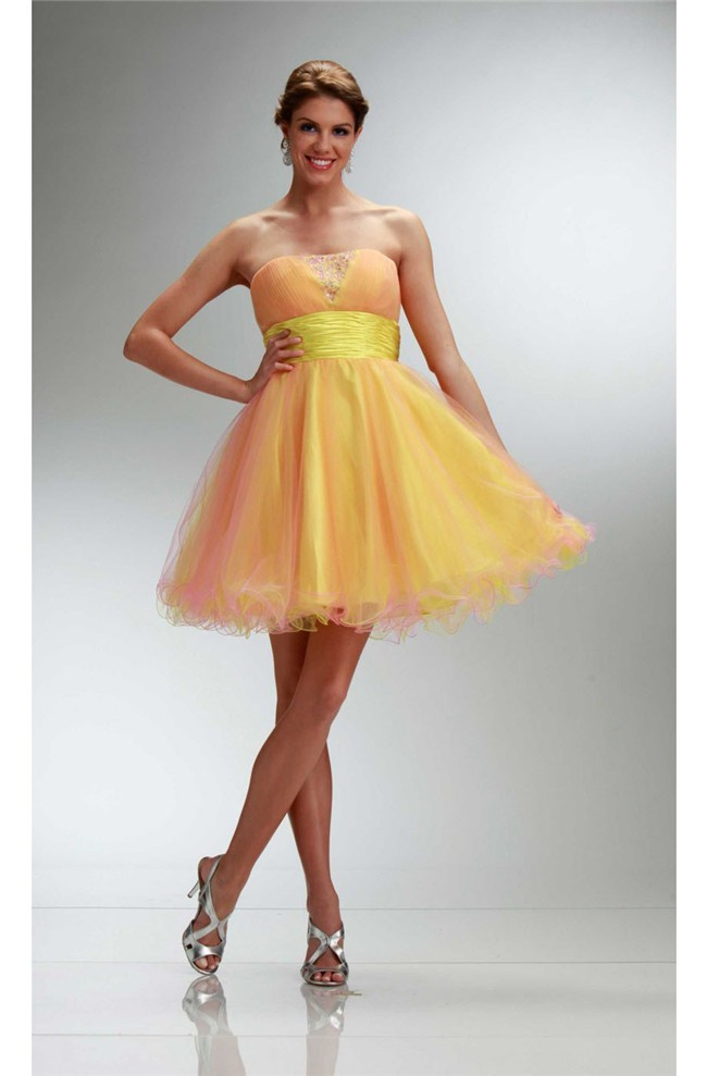 Ball Strapless Short Yellow And Pink Tulle Beaded Night Out Prom Dress
