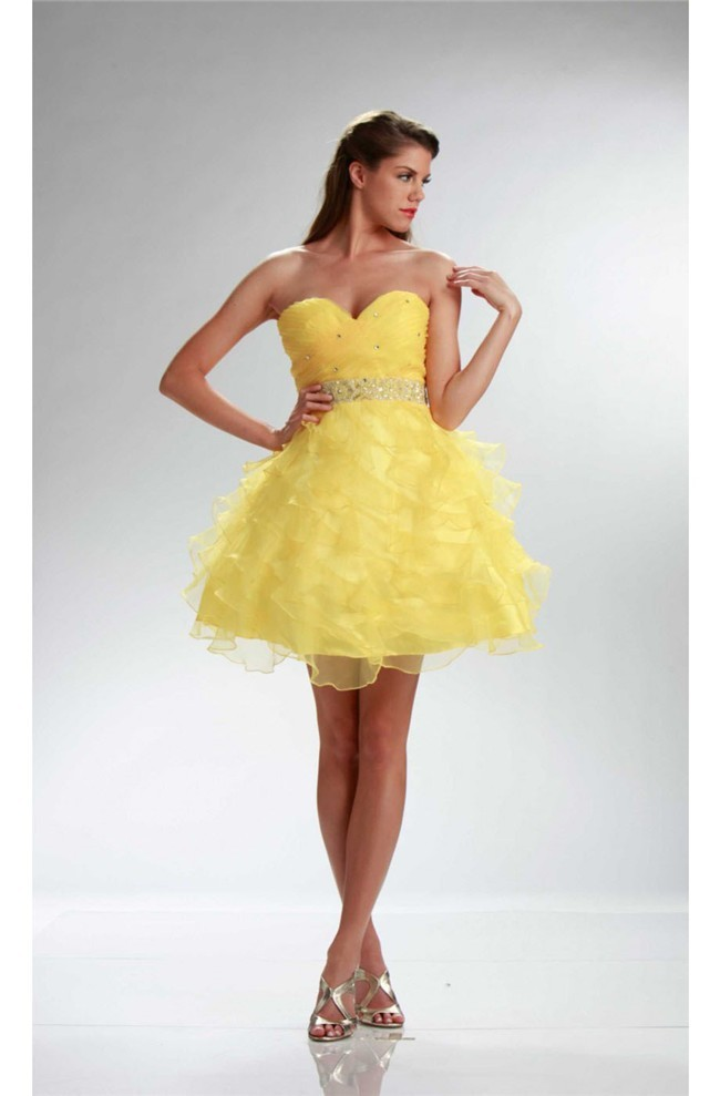Ball Strapless Short Yellow Organza Ruffle