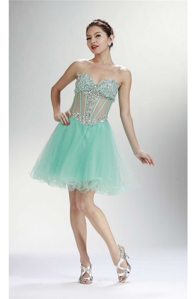 Ball Sweetheart See Through Corset Short Mint Green Tulle Beaded ...