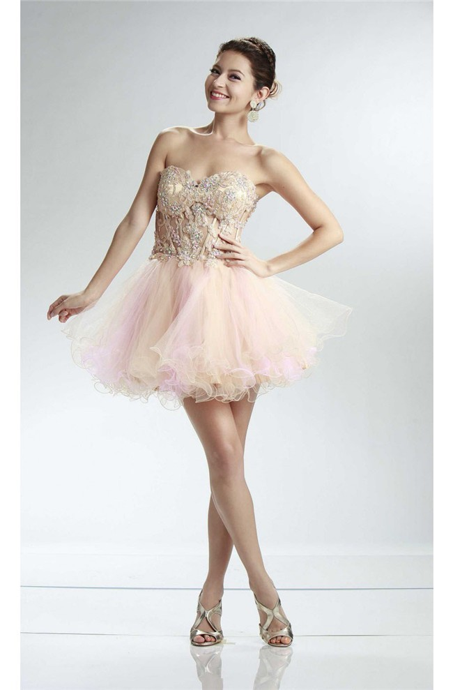 Ball Sweetheart See Through Short Champagne And Pink Tulle Layered ...