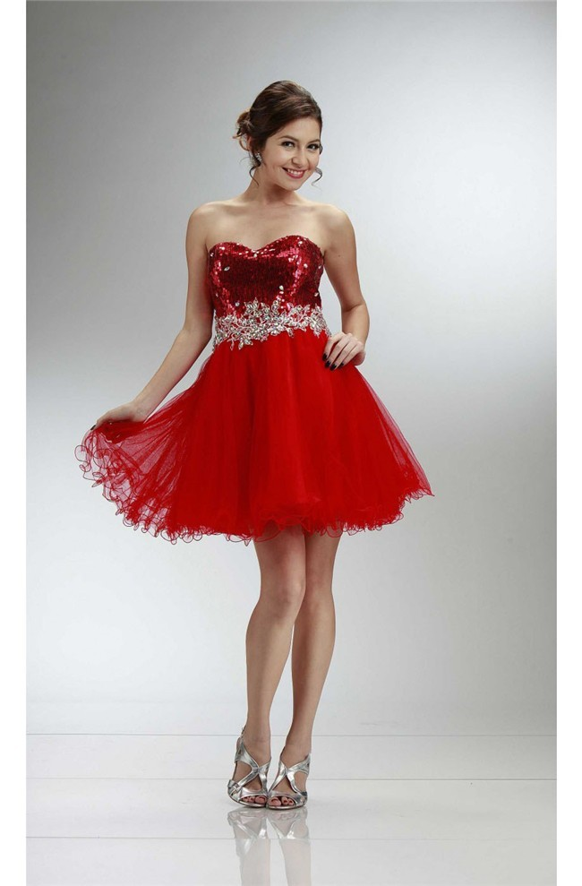58740a1dd9dc Ball Sweetheart Short Red Sequin Tulle Cocktail Prom Dress