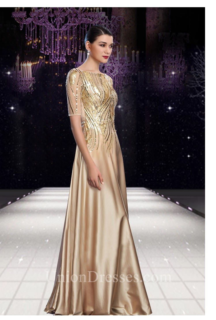 Bateau Neck Long Gold Shinning Chiffon Sequin Beaded Modest Evening ...