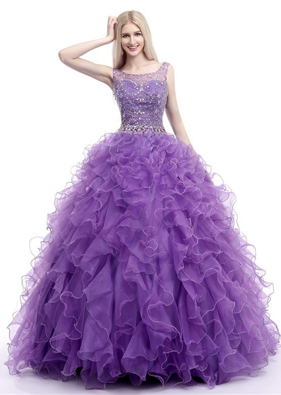 Beautiful Ball Gown Bateau Lavender Organa Ruffle Beaded Prom Dress