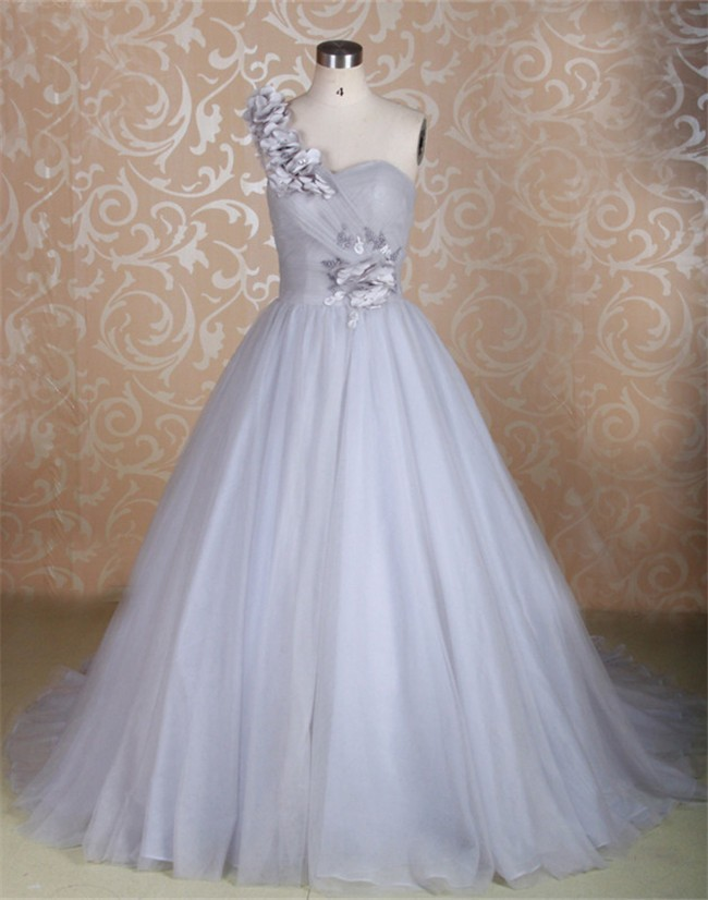 Beautiful Ball Gown One Shoulder Silver Tulle Flower Wedding Dress ...