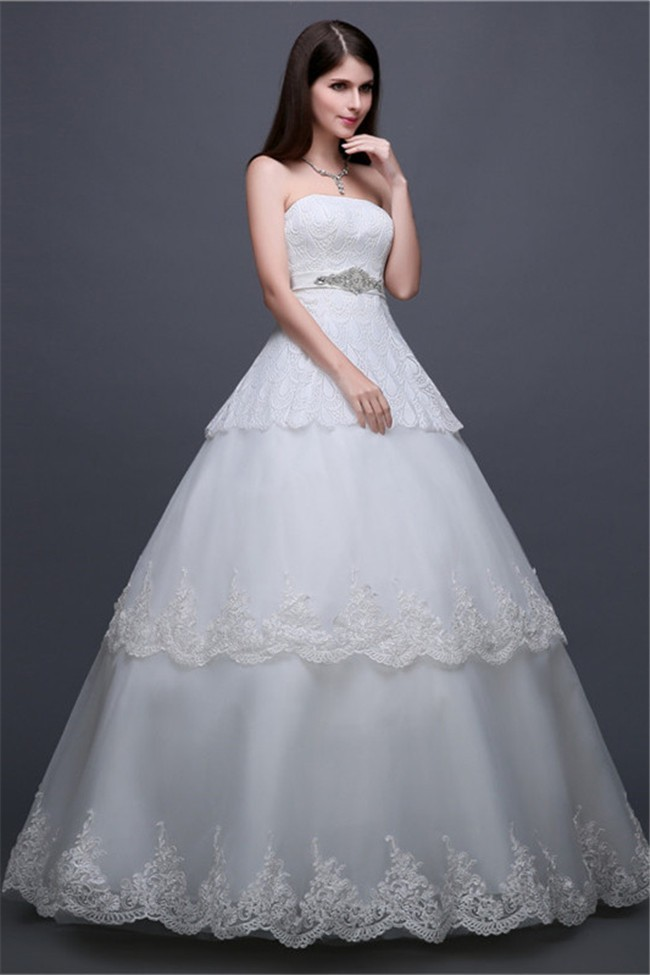 Beautiful Ball Gown Strapless Tiered Lace Wedding Dress With ...