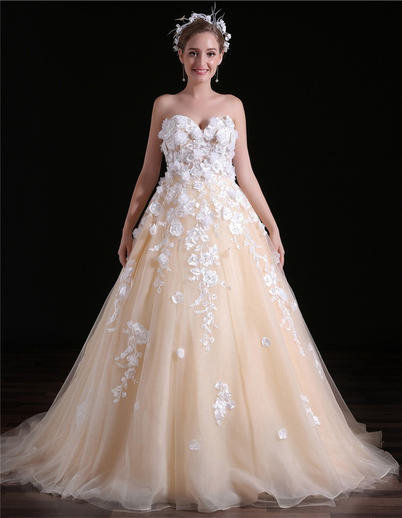 Beautiful Ball Gown Sweetheart Champagne Tulle Applique Wedding Dress