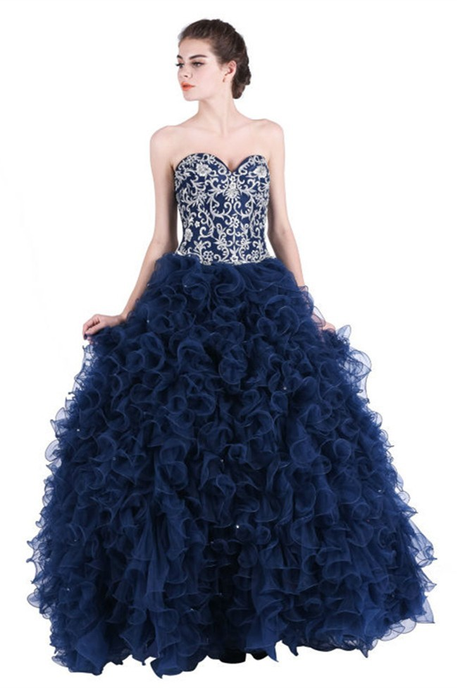 Beautiful Ball Gown Sweetheart Navy Blue Tulle Ruffle Embroidery Corset Prom Dress