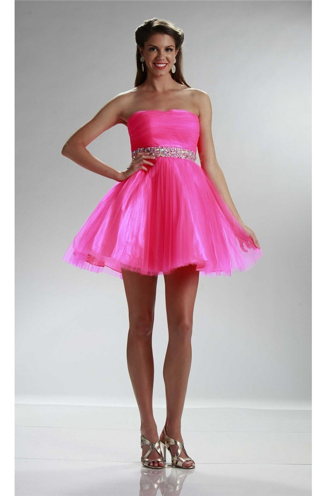 Beautiful Ball Strapless Short Hot Pink Tulle Beaded Cocktail Prom Dress