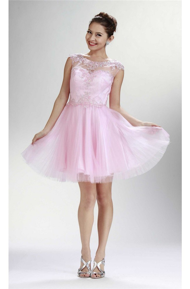 Beautiful Cap Sleeve Open Back Light Pink Tulle Short Prom Dress