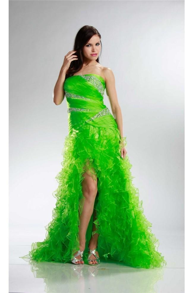 Beautiful High Low Strapless Lime Green Organza Ruffle Prom Dress