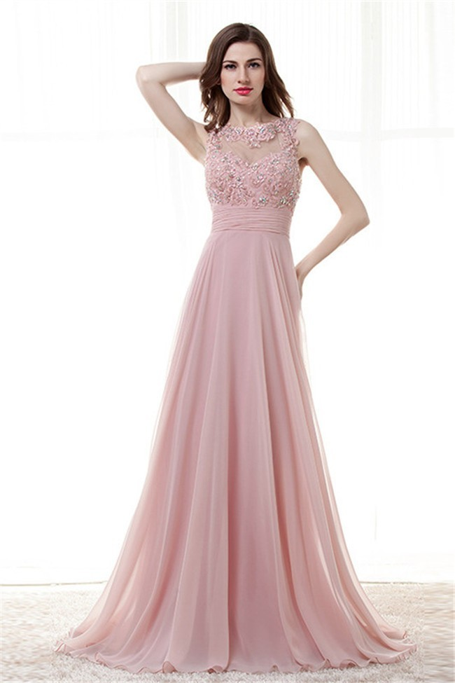 04d8c2aa146e3 Beautiful Illusion Neckline Open Back Long Blush Pink Chiffon Prom Dress