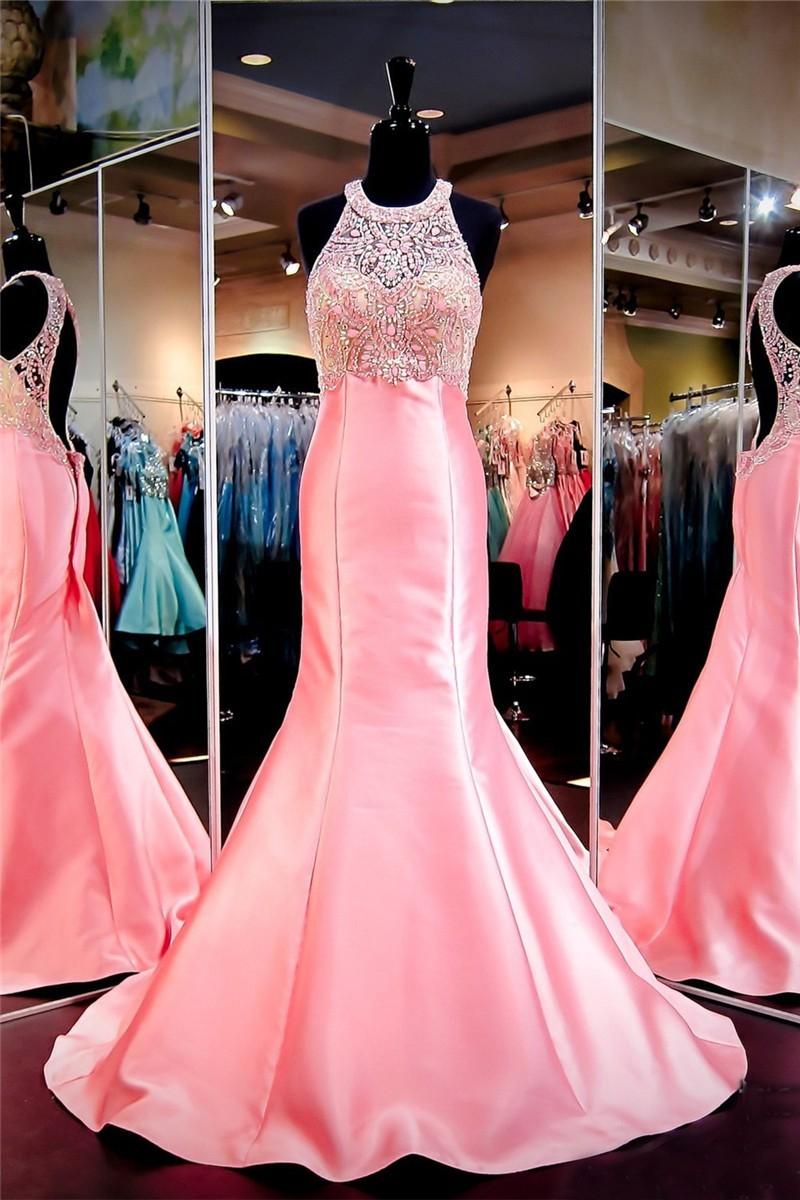 Beautiful Mermaid Halter Open Back Pink Satin Beaded Prom Dress