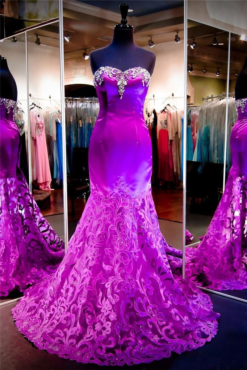 f51c0964cf Beautiful Mermaid Strapless Purple Satin Lace Prom Dress
