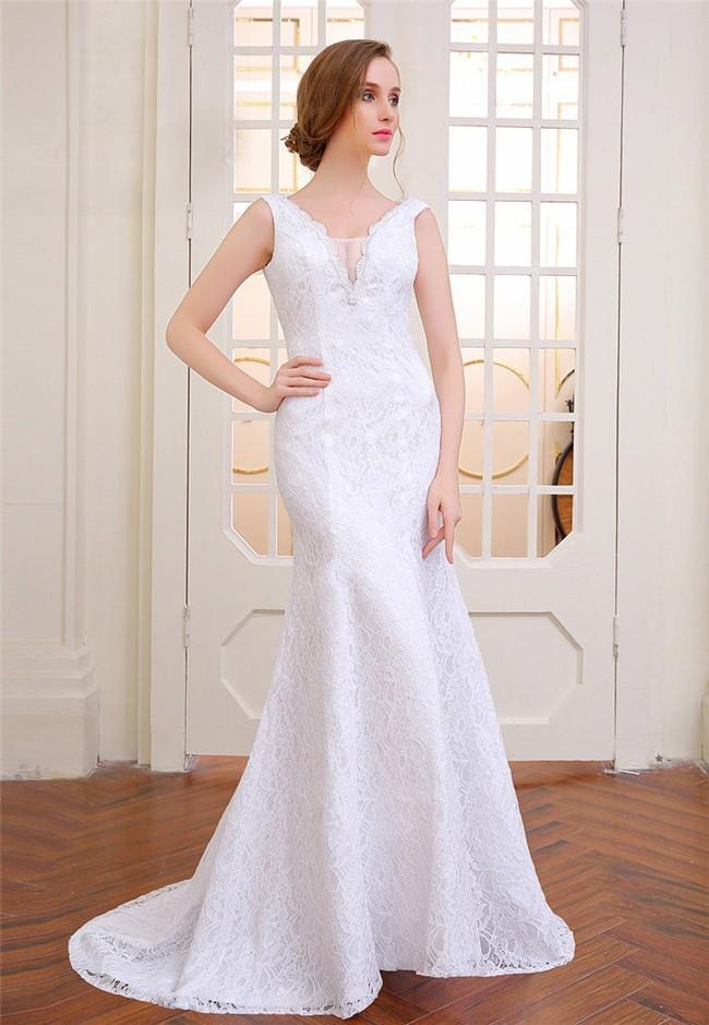 Beautiful Mermaid V Neck Sleeveless Lace Wedding Dress Lace Up Back