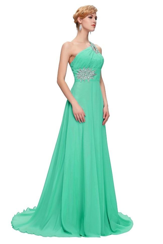 Beautiful One Shoulder Mint Green Chiffon Beaded Corset Prom Dress