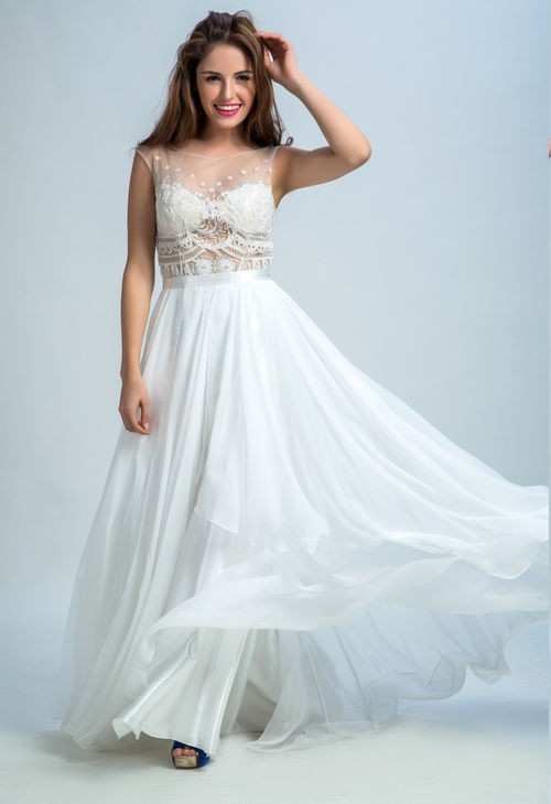Beautiful Sheer Neckline Open Back White Tulle Lace Chiffon Flowing Prom Dress