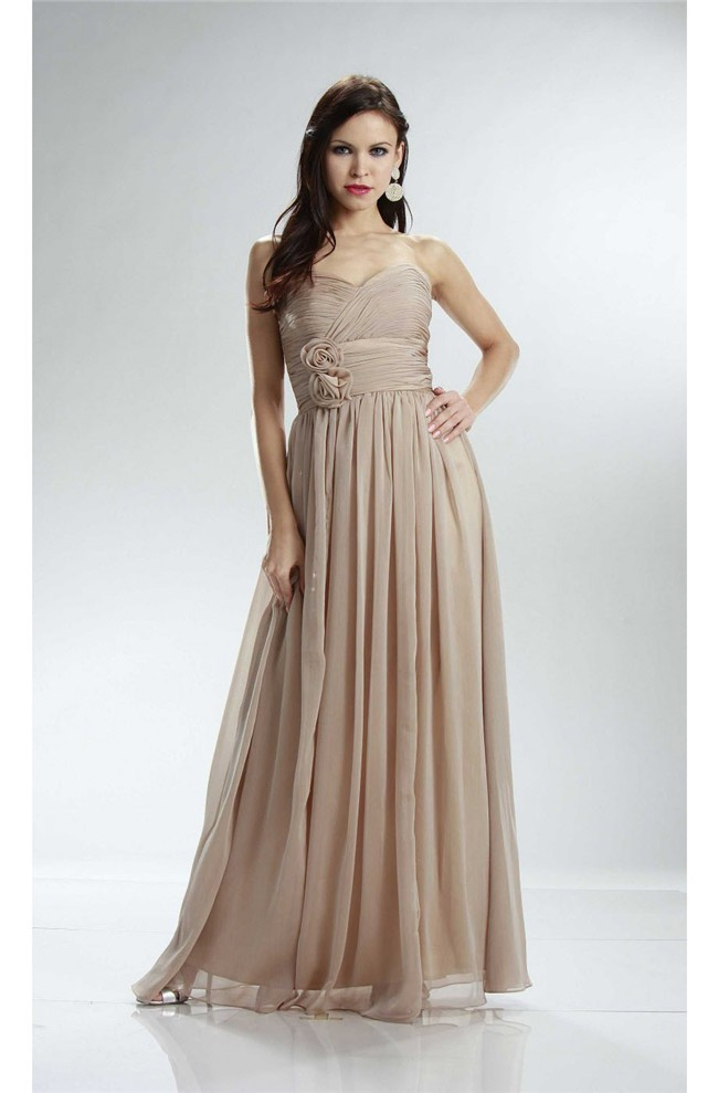 Beautiful Strapless Empire Waist Long Champagne Chiffon Bridesmaid Dress With Flowers