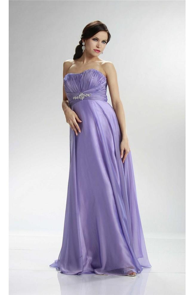 Beautiful Strapless Empire Waist Long Lavender Chiffon Prom Dress