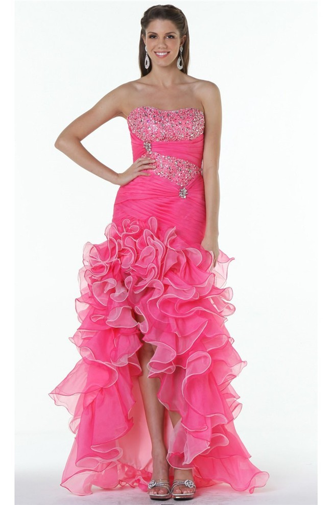 Beautiful Strapless High Low Hot Pink Organza Ruffle Prom Dress