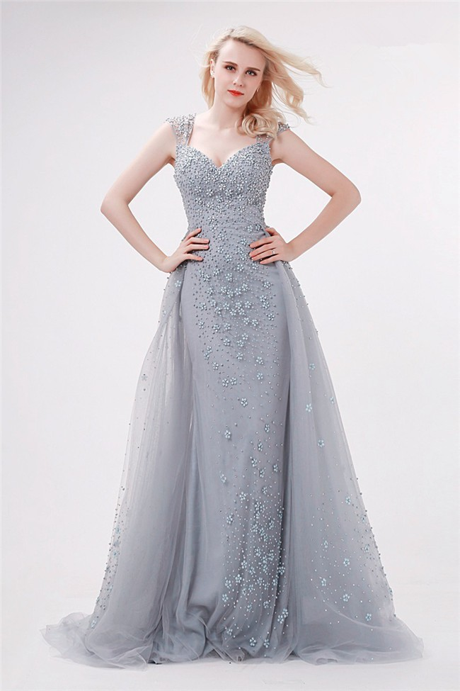 Beautiful Sweetheart Long Silver Tulle Beaded Prom Dress