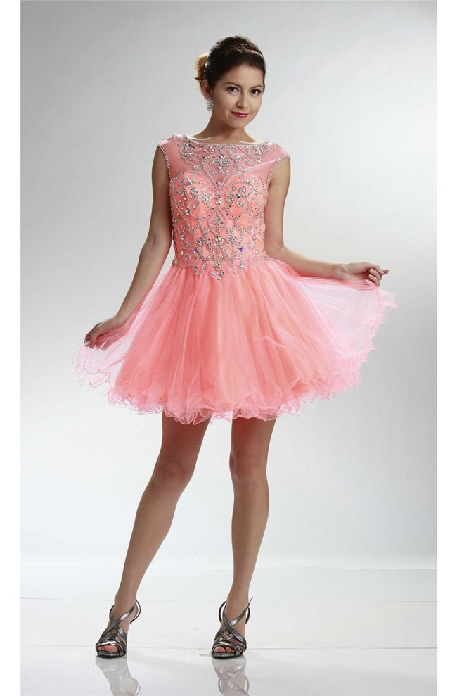 Boat Neck Cap Sleeve Short Light Coral Tulle Beaded Cocktail Prom Dress