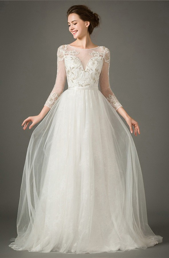 Charming A Line Bateau Neckline Tulle Lace Wedding Dress With Sleeves