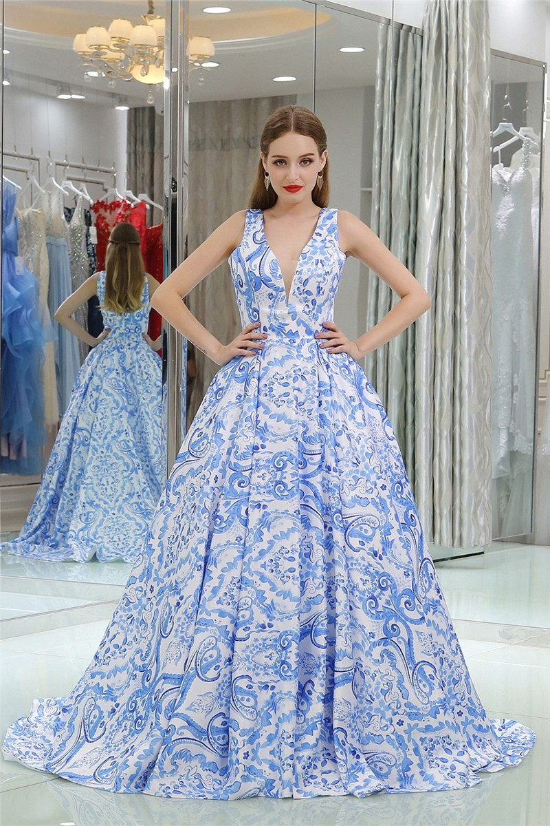 Charming Ball Gown Deep V Neck Sleeveless Blue Floral Printed Prom Dress