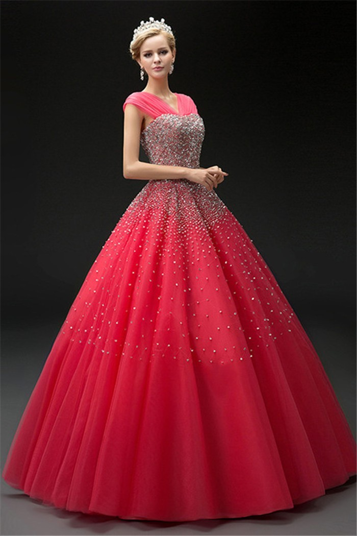 Charming Ball Gown Watermelon Tulle Beaded Corset Prom Dress With Straps