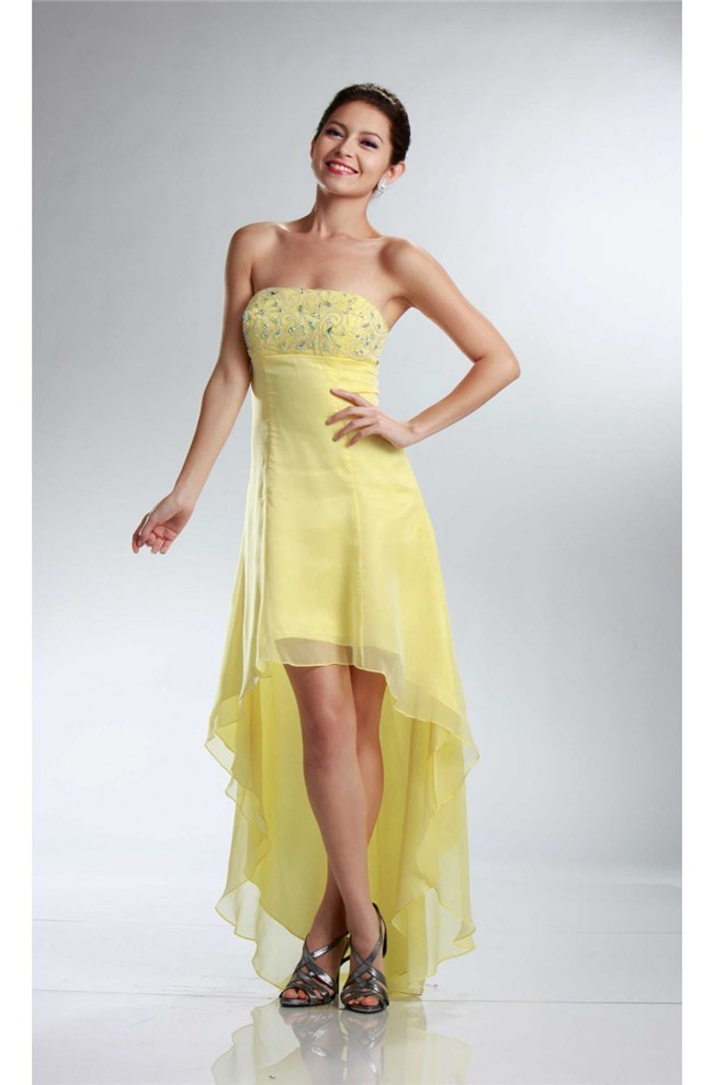 5ea3a2f13 Charming High Low Strapless Empire Waist Yellow Chiffon Party Prom Dress