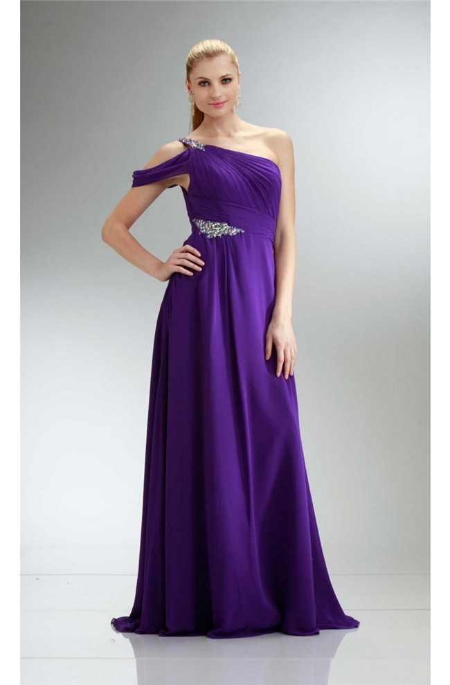 One Shoulder Lavender Dress
