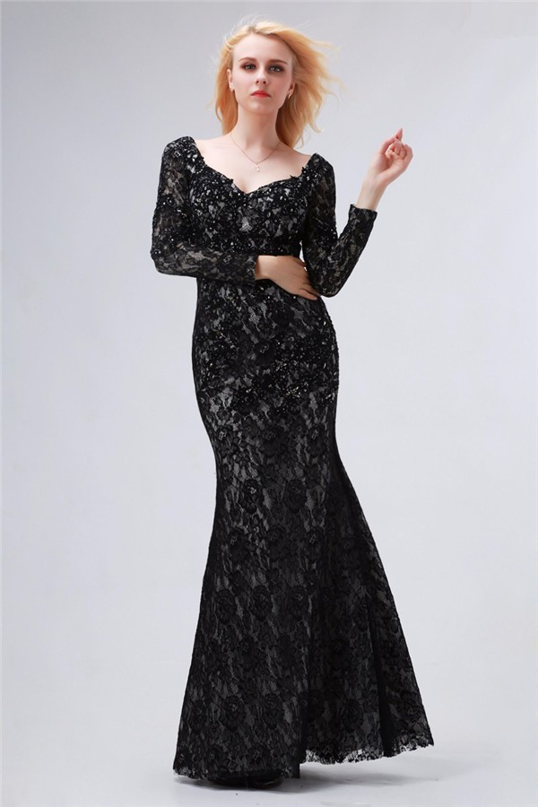 Charming Queen Anne Neckline Long Sleeve Black Lace Evening Prom Dress