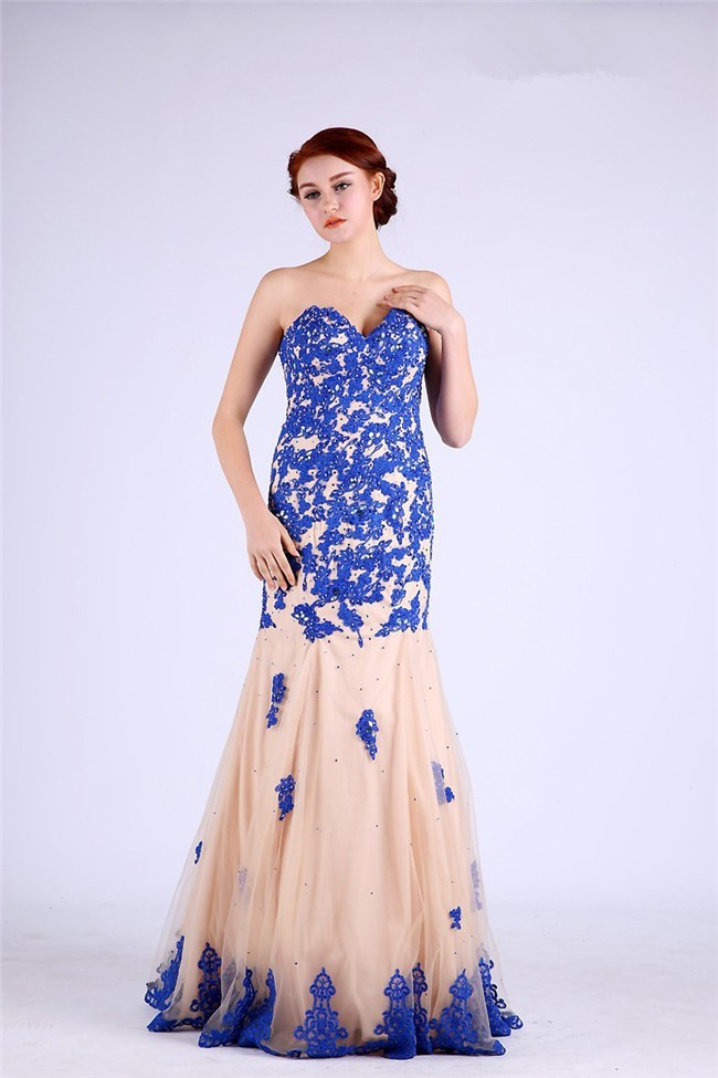 Charming Sweetheart Champagne Tulle Royal Blue Lace Applique Prom Dress