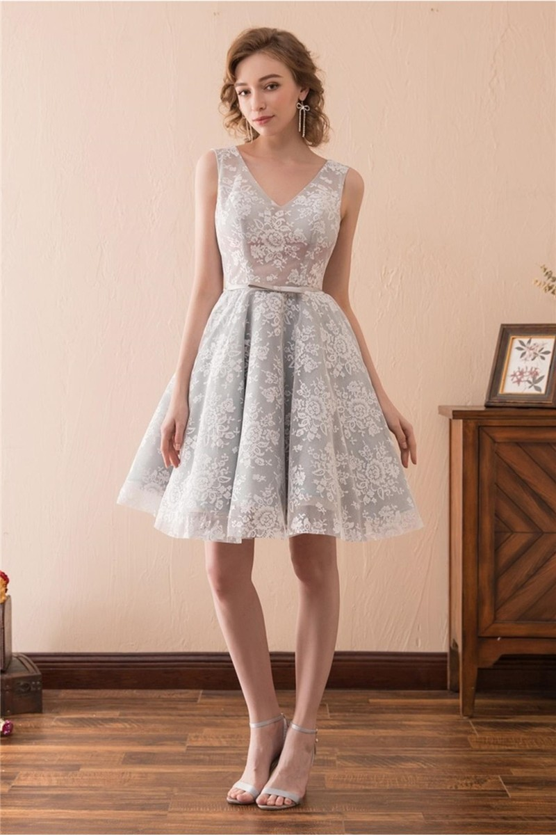 Charming V Neck Short Silver Lace Party Prom Dress With Bow