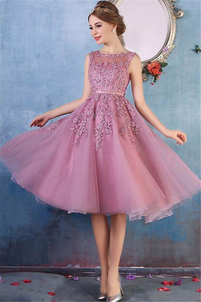 549015f61695 Chic Bateau Neckline Dusty Rose Tulle Lace Short Prom Dress With Belt