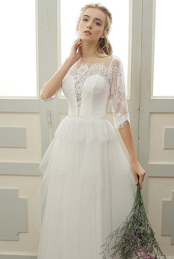 Chic Illusion Neckline Tulle Lace Sleeve Peplum Boho Wedding Dress