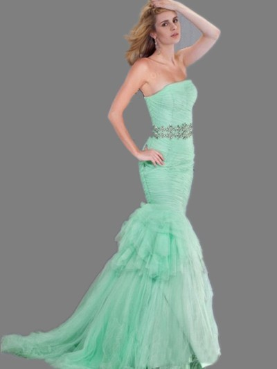 15d353df44 Chic Mermaid Strapless Mint Green Tulle Ruched Prom Dress With Beading