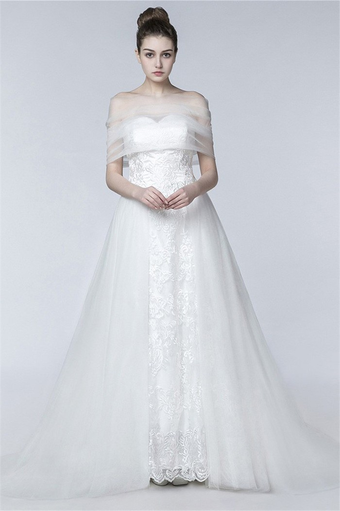 Classic A Line Strapless Lace Tulle Wedding Dress With Wrap Shawl