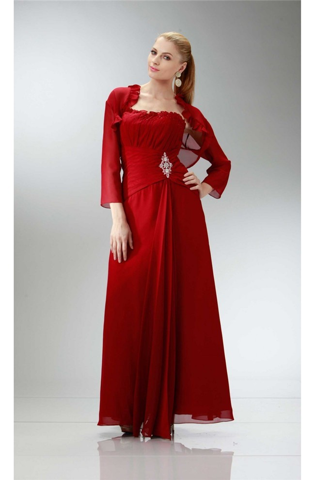 Classic Sheath Strapless Red Chiffon Mother Evening Dress