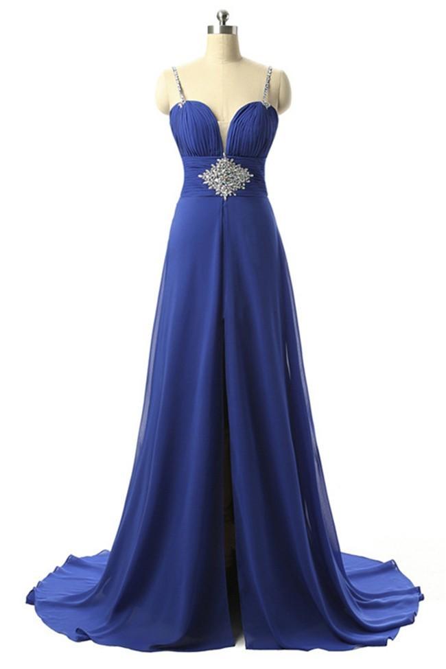 Classic Sweetheart Front Slit Long Royal Blue Chiffon Prom